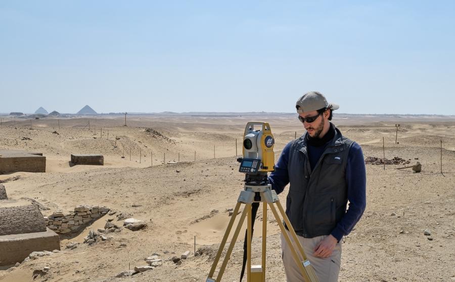 Luca Perfetti surveying the site. Photo: Nicola Dell'Aquila.