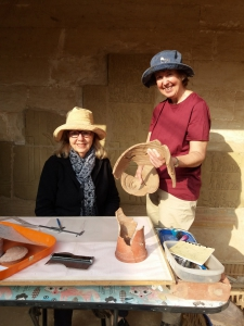 Lyla Pinch-Brock and Barbara Aston working on the pottery from the area south of the tomb of Meryneith.