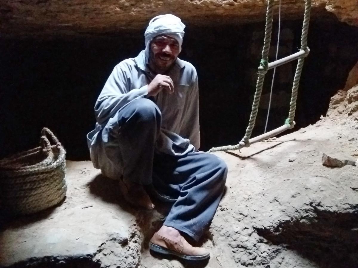 Down in the shaft of Meryneith's tomb. Photo: Lara Weiss.