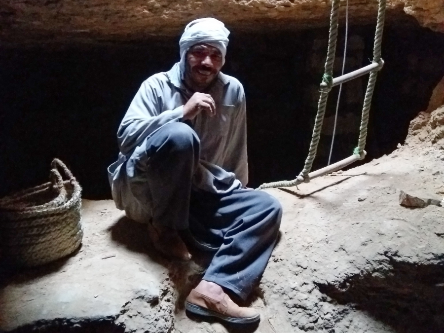 Down in the shaft of Meryneith's tomb. Photo: Lara Weiss.