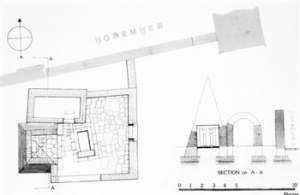 Plan and superstructure of Iniuia's tomb